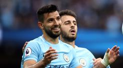 Sergio Aguero celebrates Manchester City goal number 176
