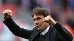 Chelsea manager Antonio Conte celebrates his team's win at Stoke