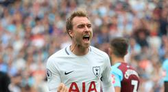 Christian Eriksen scored his 33rd league goal against West Ham