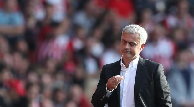 Manchester United manager Jose Mourinho reacts after being sent to the stands against Southampton