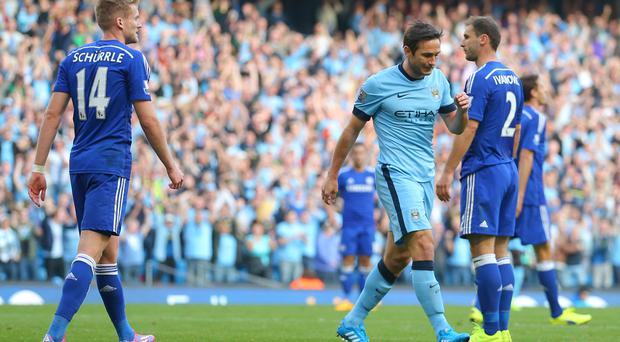 Frank Lampard, centre, did not celebrate when he scored for Manchester City against his former club Chelsea