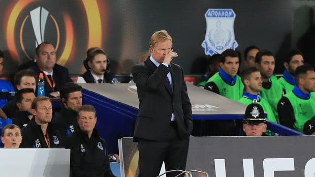 Ronald Koeman's Everton were held to a 2-2 draw at home by Apollon Limassol on Thursday..
