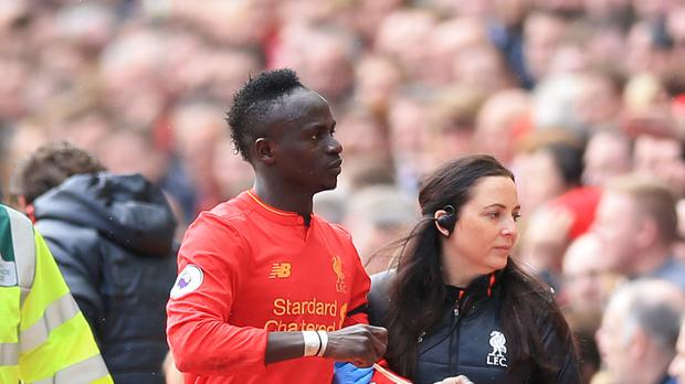 Liverpool forward Sadio Mane will be sidelined for six weeks with a hamstring injury.