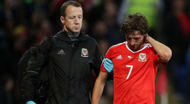 Wales' Joe Allen walked off after suffering a head injury in the 1-0 defeat to the Republic of Ireland.