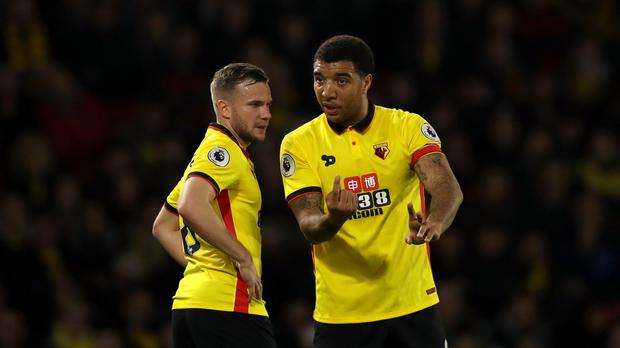 Tom Cleverley, left, and Troy Deeney changed the course of the game for Watford