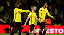 Tom Cleverley (centre) scored his first Watford goal in over seven years to beat Arsenal on Saturday.