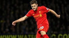 Adam Lallana is yet to play for Liverpool this season because of a thigh injury