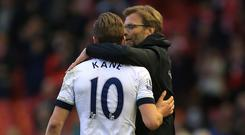 Liverpool manager Jurgen Klopp, right, believes Tottenham striker striker Harry Kane is world class.