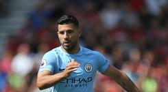 File photo dated 26-08-2017 of Manchester City's Sergio Aguero.
