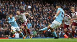 Sergio Aguero scored a record-equalling 177th goal for Manchester City in their 3-0 win over Burnley
