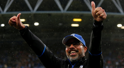 Huddersfield Town manager David Wagner celebrates his side's victory over Manchester United yesterday Photo: Reuters