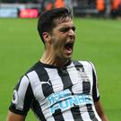 Newcastle midfielder Mikel Merino celebrates his winner against Crystal Palace