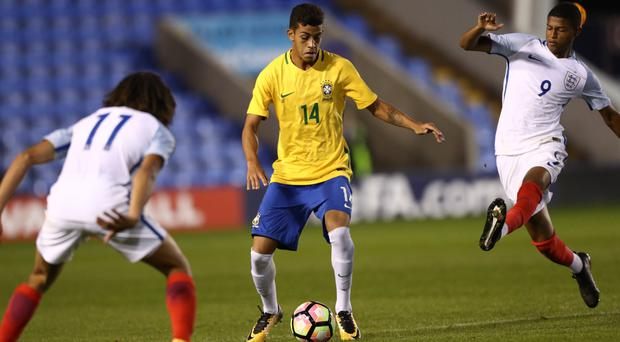 Rhian Brewster, right, has scored back-to-back hat-tricks for England Under-17s