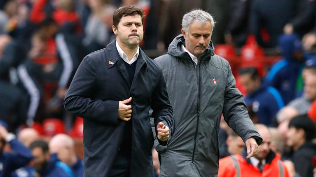 It was Jose Mourinho, in the grey coat, who gained the upper hand on Mauricio Pochettino