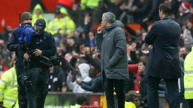 Jose Mourinho, centre, hushes Manchester United's critics after victory over Tottenham