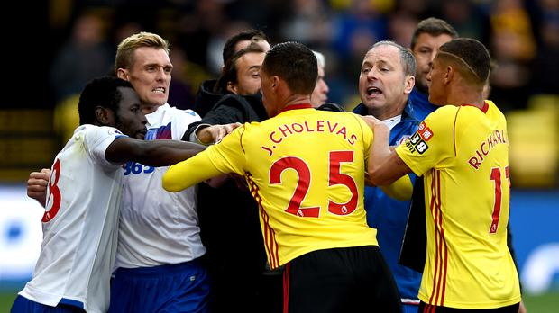 Tempers flared during Stoke's win at Watford