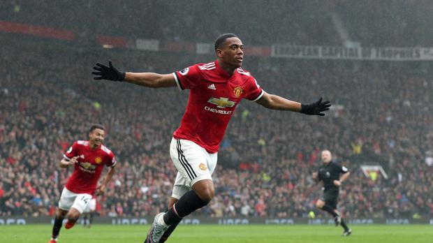 Manchester United's Anthony Martial celebrates scoring his side's first goal of the game during the Premier League match at Old Trafford, Manchester