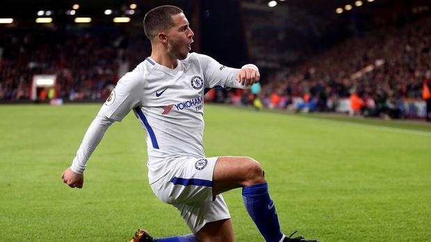 Chelsea's Eden Hazard celebrates scoring his side's first goal of the game during the Premier League match at the Vitality Stadium, Bournemouth.