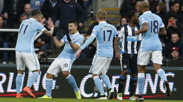 Sergio Aguero, centre left, celebrates on of his 11 Premier League goals against Newcastle