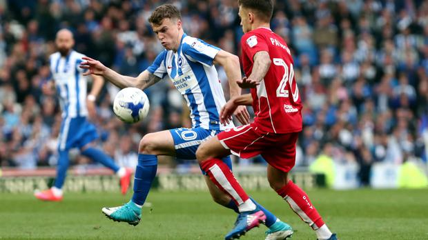 Brighton boss Chris Hughton has challenged Lewis Dunk and Solly March, pictured, to prove they deserve a place in Gareth Southgate's squad