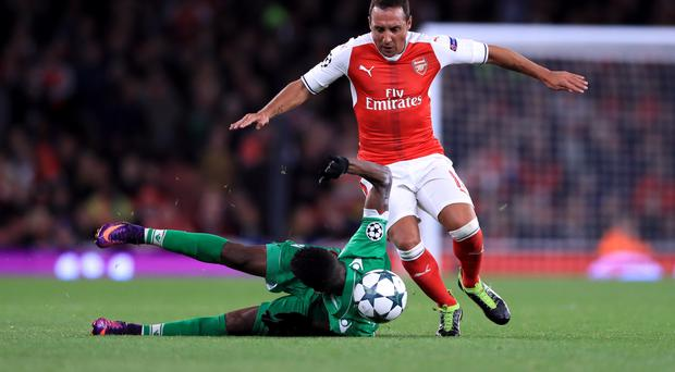 Santi Cazorla, right, has not played for Arsenal since the win over Ludogorets in October 2016