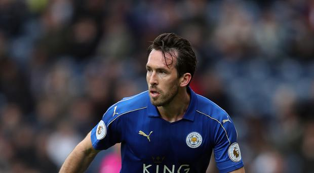 Christian Fuchs, pictured, started in Claude Puel's first Leicester game, a 2-0 win over Everton
