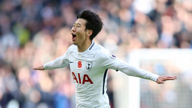 Tottenham's Son Heung-min celebrates scoring the winning goal
