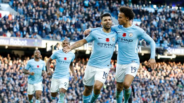 Sergio Aguero was on target yet again for Manchester City against Arsenal