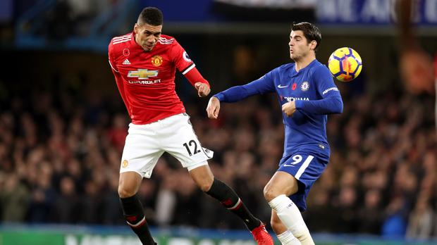 Alvaro Morata, right, got the better of Chris Smalling at Stamford Bridge