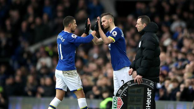 Morgan Schneiderlin, right, and Kevin Mirallas, left, were missing from Everton's squad
