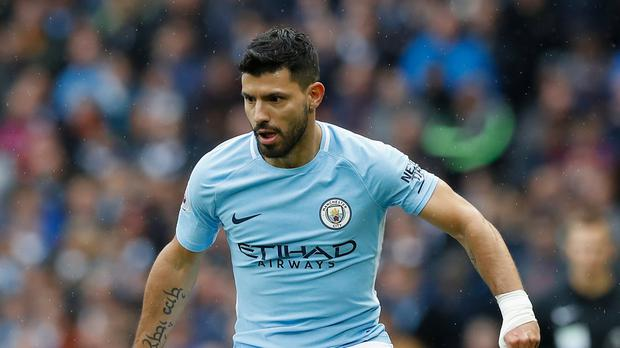 Manchester City's Sergio Aguero was named on the bench