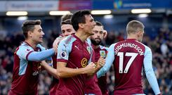 Burnley's Jack Cork celebrates scoring his side's first goal