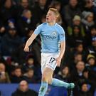 Kevin De Bruyne celebrates scoring City's second goal