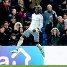 Everton's Oumar Niasse celebrates scoring his side's second goal
