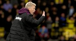 David Moyes' first game in charge of the Hammers ended in defeat