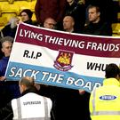 West Ham fans turned on the club's board during the defeat at Watford