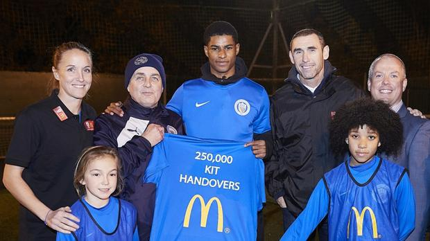 Manchester United and England striker Marcus Rashford has been back at his old club