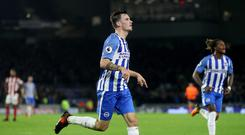 Brighton & Hove Albion's Pascal Gross celebrates scoring his side's first goal of the game