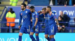 Leicester players celebrate scoring against Everton last month