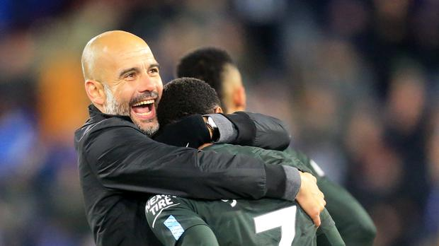 Manchester City manager Pep Guardiola and Manchester City didn't have things their own way before winning at Huddersfield