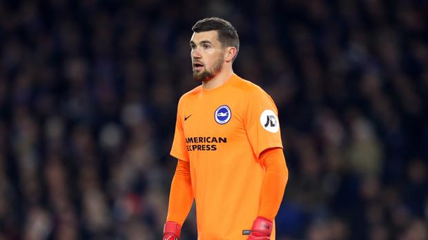 Mat Ryan pulled off a fine double save to deny Crystal Palace