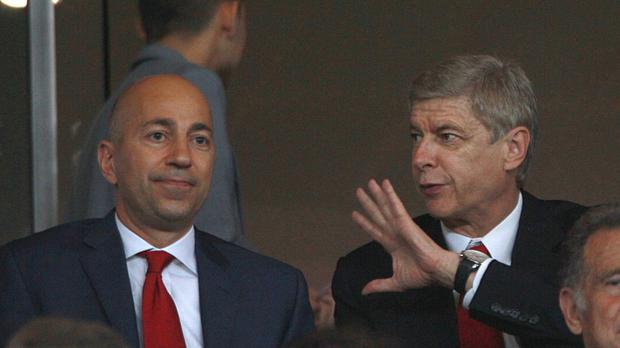 Arsene Wenger, right, says Arsenal chief executive Ivan Gazidis, left, is not involved in player transfers