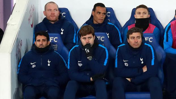 Tottenham manager Mauricio Pochettino, bottom centre, was far from impressed by his side's performance