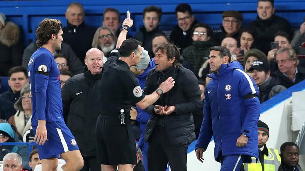 Antonio Conte is sent to the stands by referee Neil Swarbrick