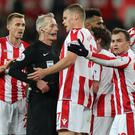 Stoke players made their feelings known to Martin Atkinson in the game against Liverpool