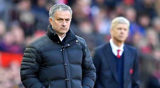 Jose Mourinho, pictured left, takes on Arsenal on Saturday