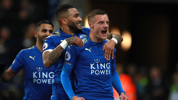 Leicester's Jamie Vardy, right, celebrated his 49th Premier League goal in the 2-1 win over Tottenham