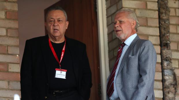 West Ham United co-owners David Gold, right, and David Sullivan