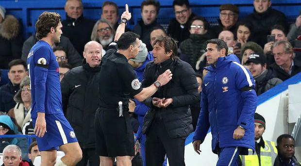 Chelsea manager Antonio Conte was sent to the stands by referee Neil Swarbrick during the match against Swansea