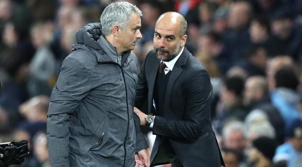 Manchester United manager Jose Mourinho, left, and Manchester City counterpart Pep Guardiola meet on Sunday